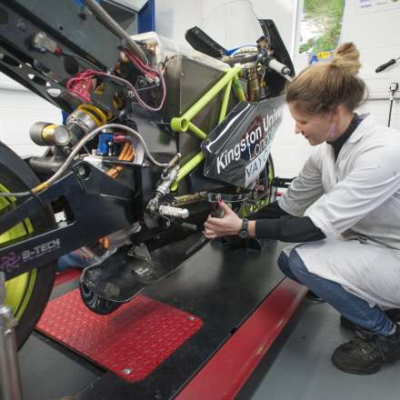 Motorbike in the automotive engineering laboratory
