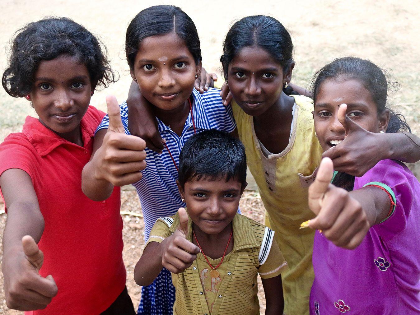Group Sri Lankan school girls smiling