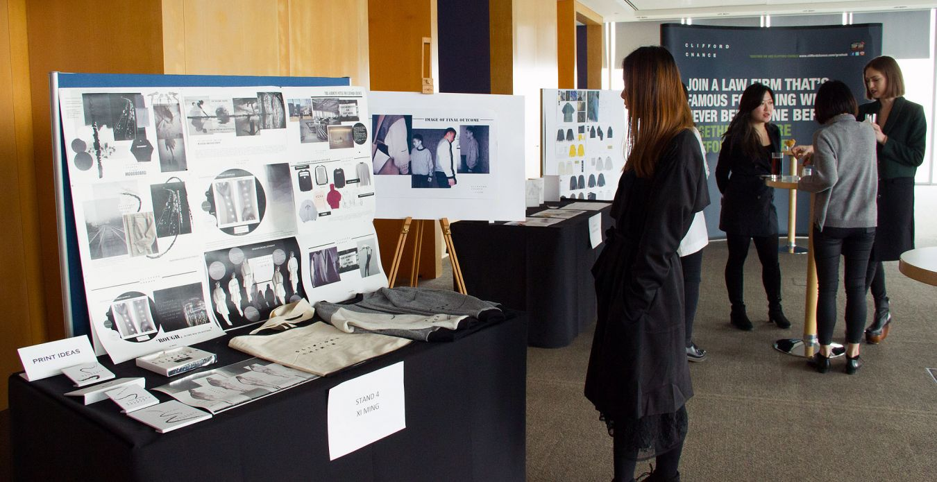 The Fashion MA students\' work on display at the Clifford Chance offices