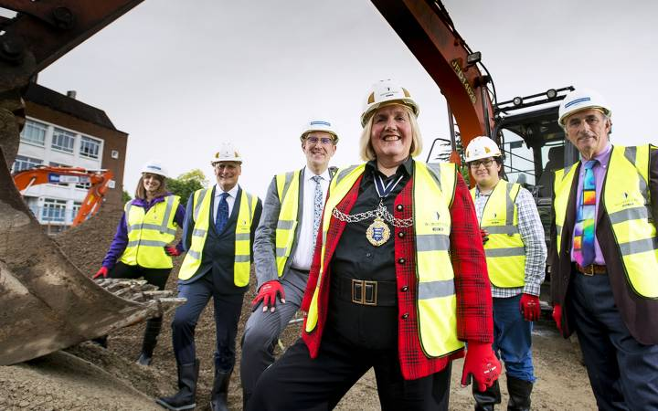 Breaking ground – key local figures celebrate the start of construction on Kingston University's landmark Town House building