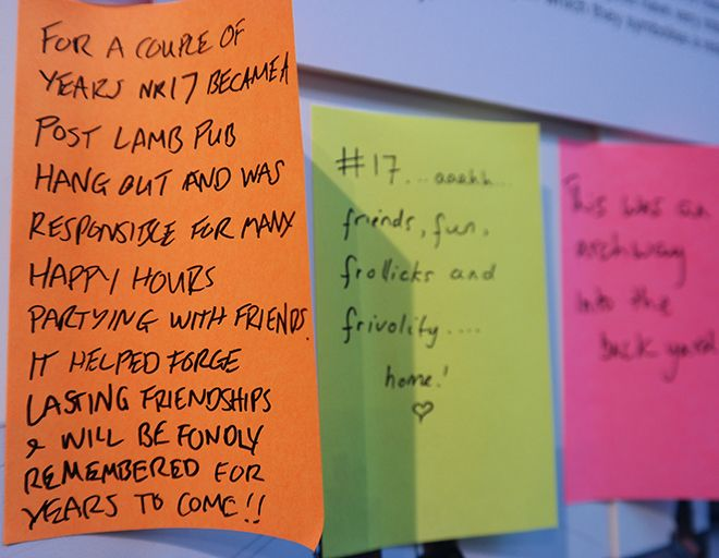 Picture of post-its with writing about Cleaveland Rd on them