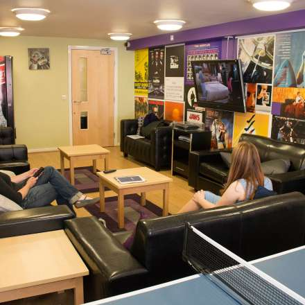 Common room with tv and sound system