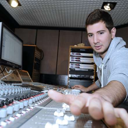 A music student in our recording studio