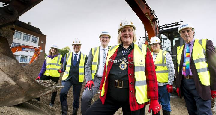 Speeches, showers and a silver trowel at ground breaking for Kingston University's landmark Town House building