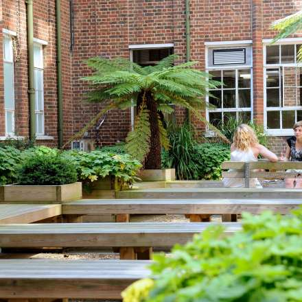 Reading Garden offers an outdoor quiet space to the LRC