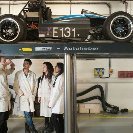 Students looking at our Formula Student racing car