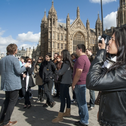Students on a cultural tour of London