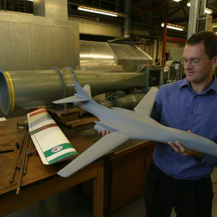 Reviewing model of aeroplane for testing in the wind tunnel