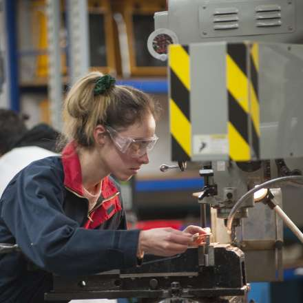 A student in our engineering labs at Roehampton Vale