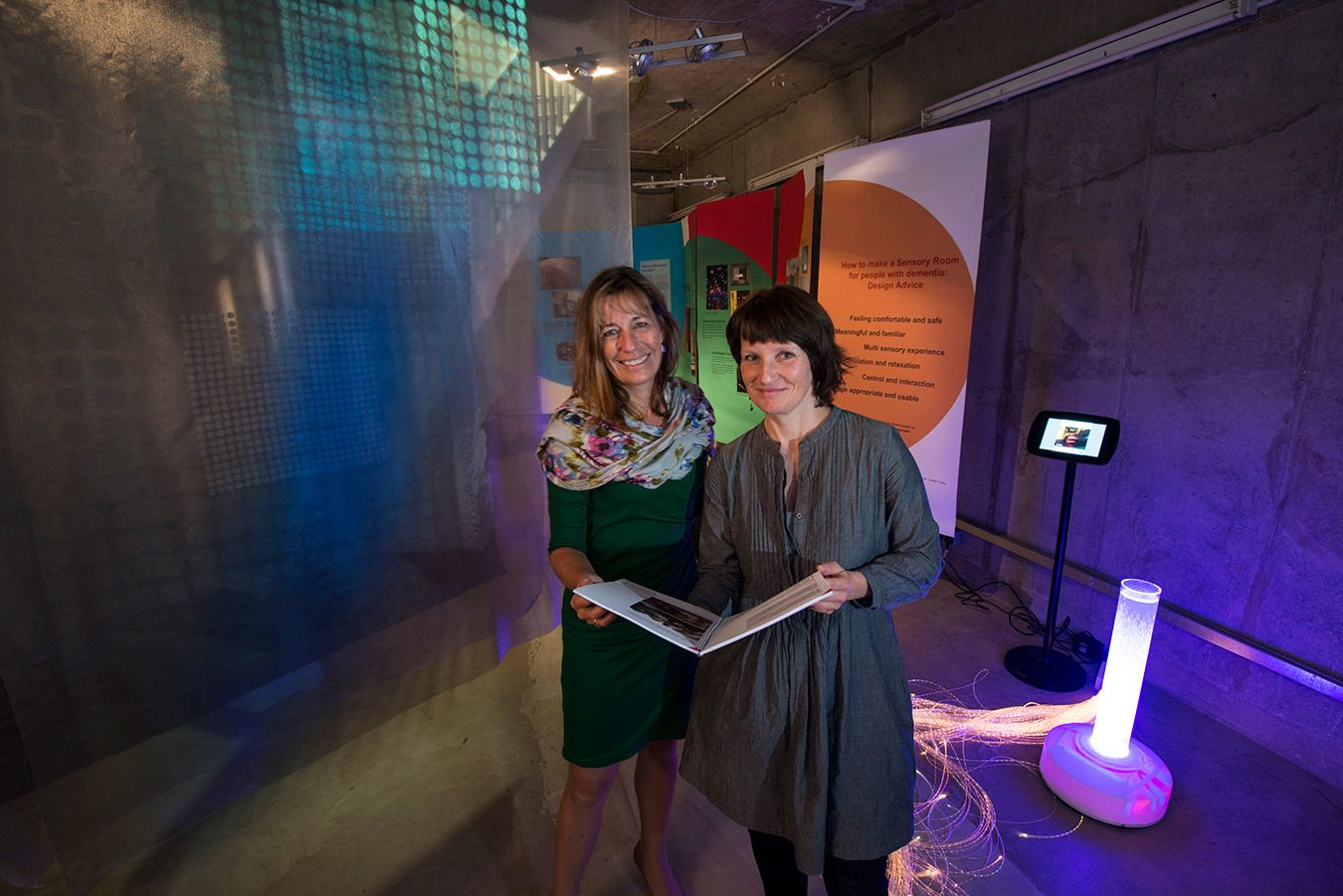 Drs Lesley Collier, left, and Anke Jakob shared their specialist knowledge with visitors to the Sensory Rooms exhibition staged as part of the Inside Out Festival. Image - University of Southampton