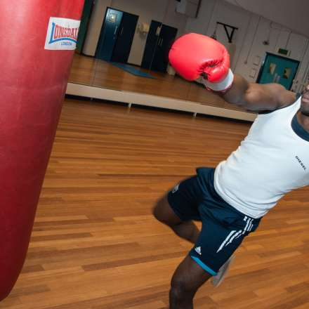 Boxing training in the dance studio