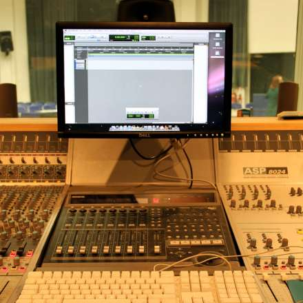 Mixing desk in the music studio