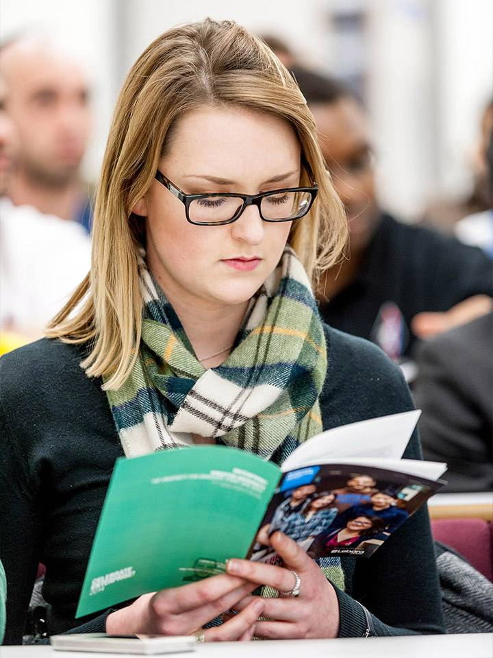 Prospective postgraduate student at open event
