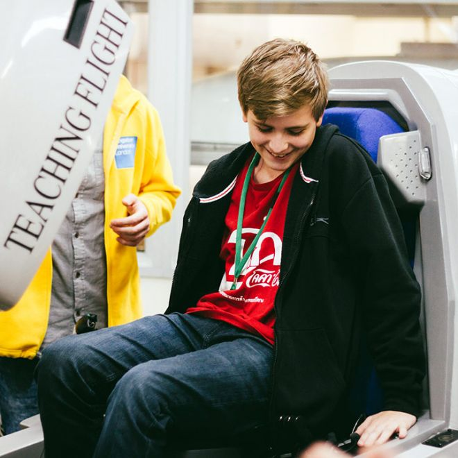 Student on flight simulator