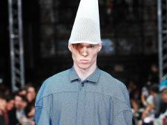 Denim and dunces' hats take centre stage as Kingston University MA Fashion designer makes catwalk statement on plight of Spanish economy