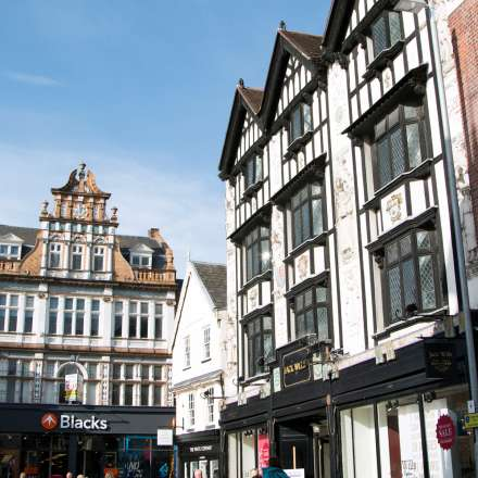 The listed buildings in the marketplace double as shops to make for an insteresting shopping experience