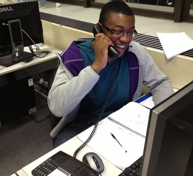 Festus Olusanya takes calls for Kingston University\'s  Annual Fund