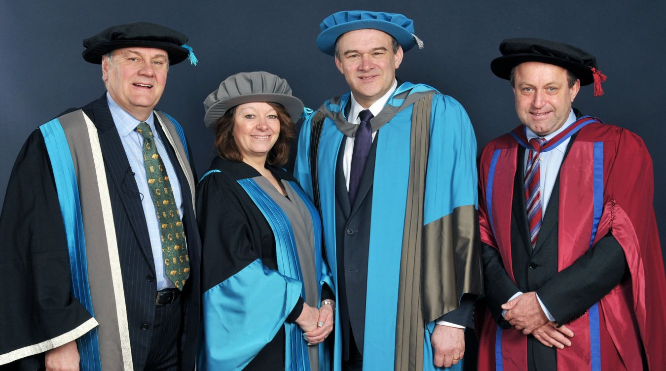 From left to right: Professor Martyn Jones, Dr Lucy Jones, Sir Ed Davey and Professor Mike Sutcliffe at the Rose Theatre in Kingston