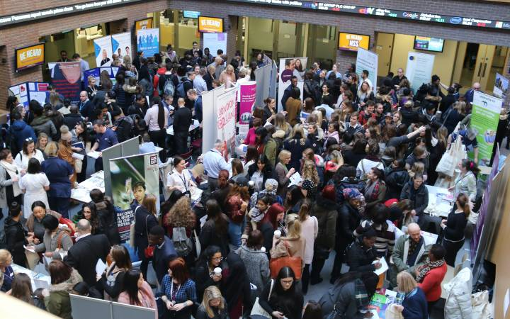Kingston University's practice-based nursing degrees praised as health employers flock to annual careers fair in a bid to recruit 'exceptional' students