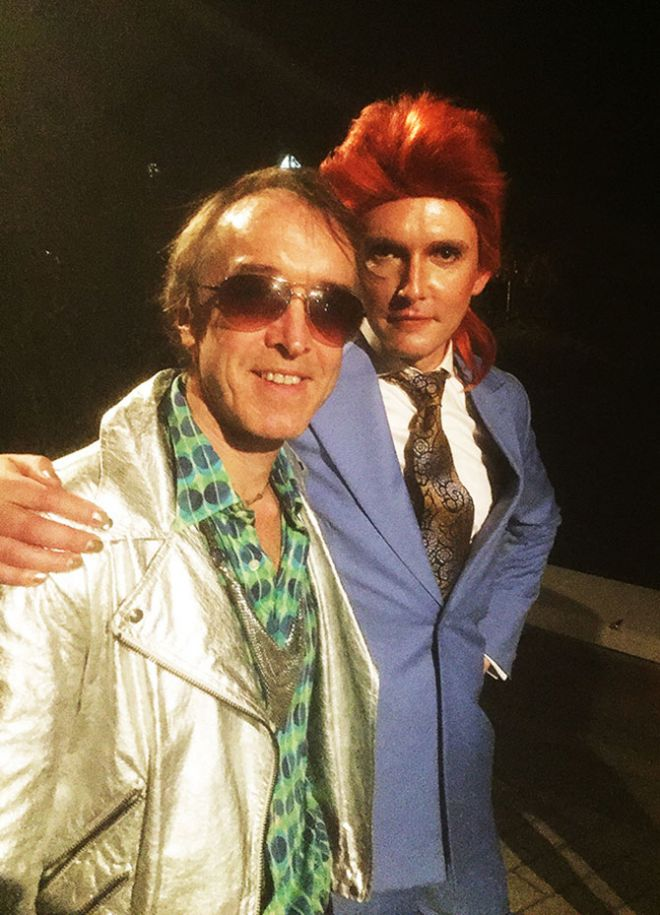 A picture of Bowie superfan Indie Brindie with Professor Will Brooker