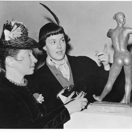 Photograph of Dora Gording with Joan McFadyean, Leicester Galleries, October 1949