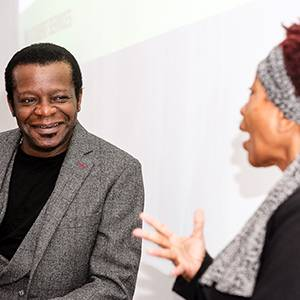 Comedian Stephen K Amos highlights importance of education during interview with Kingston University Chancellor Bonnie Greer at student media summit