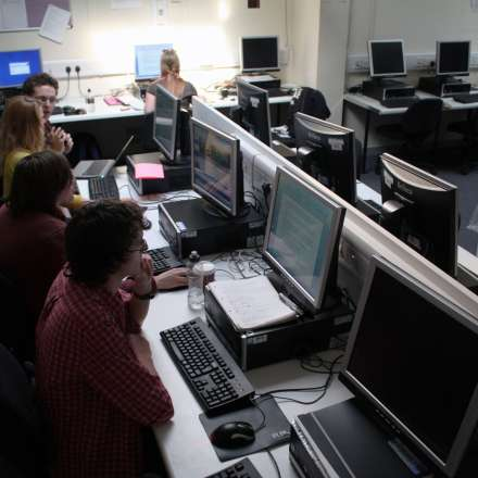 Media students in the news room