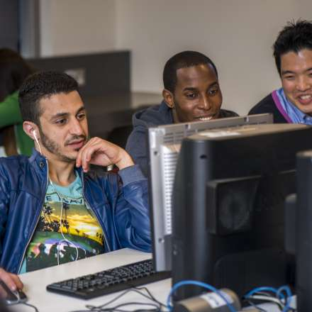 Students at work in one of the computer labs on campus