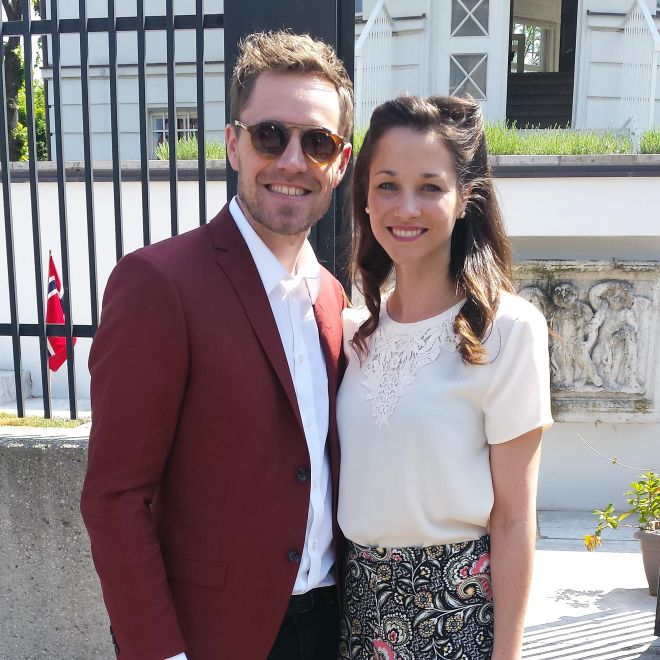 Norway Eurovision entry Kjetil Morland and wife Nicola in Vienna