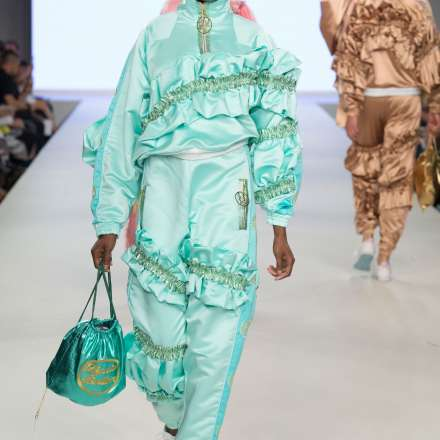 Lydia Bolton's designs on the catwalk during  Kingston University's show at Graduate Fashion Week