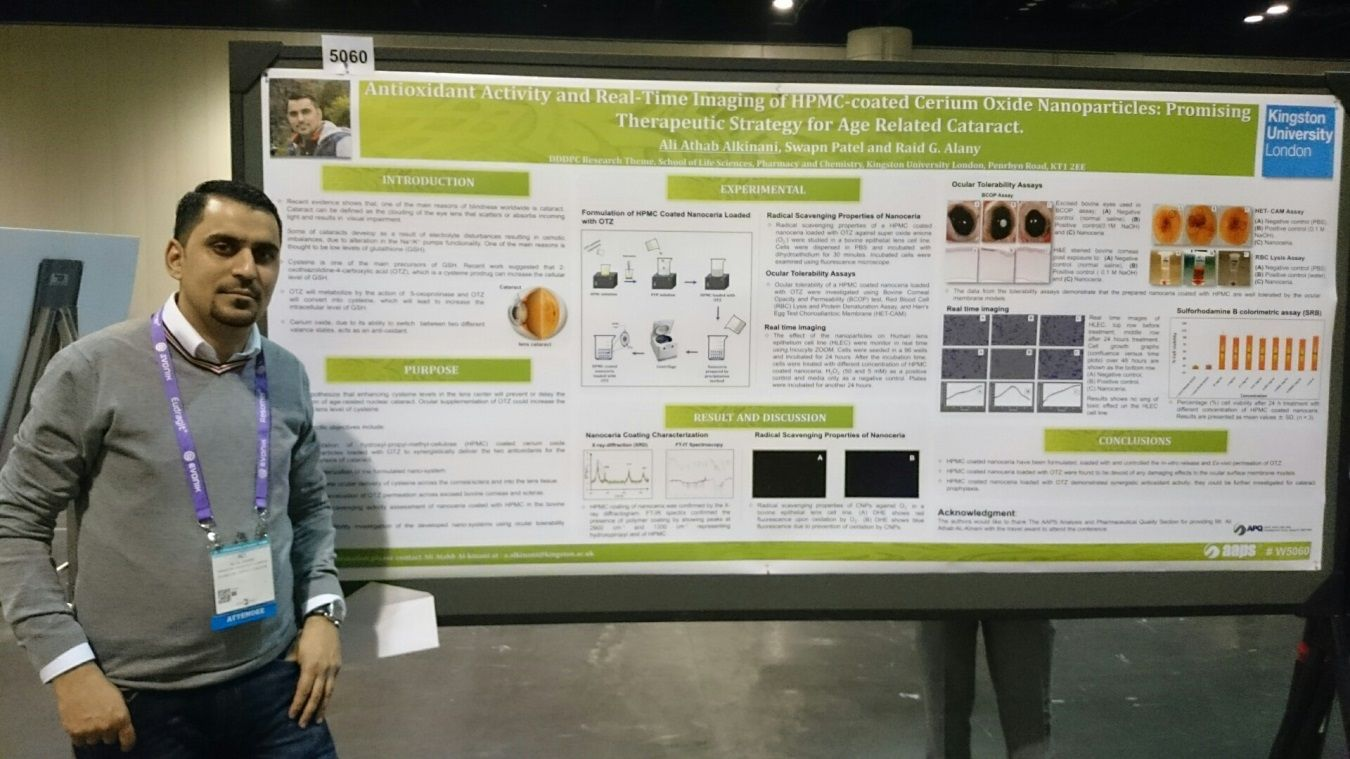 Ali Al-kinani with his award-winning research poster