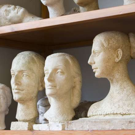 Dorich House shelves showing sculptures