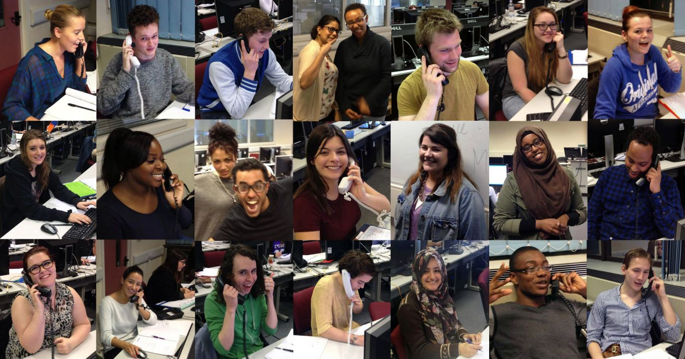 Student callers during a campaign