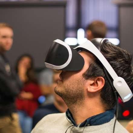 Student testing VR headset