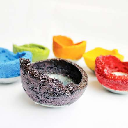 Student work - bowls - 'Eruption'