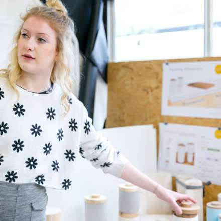 A Product and Furniture Design student presenting her work