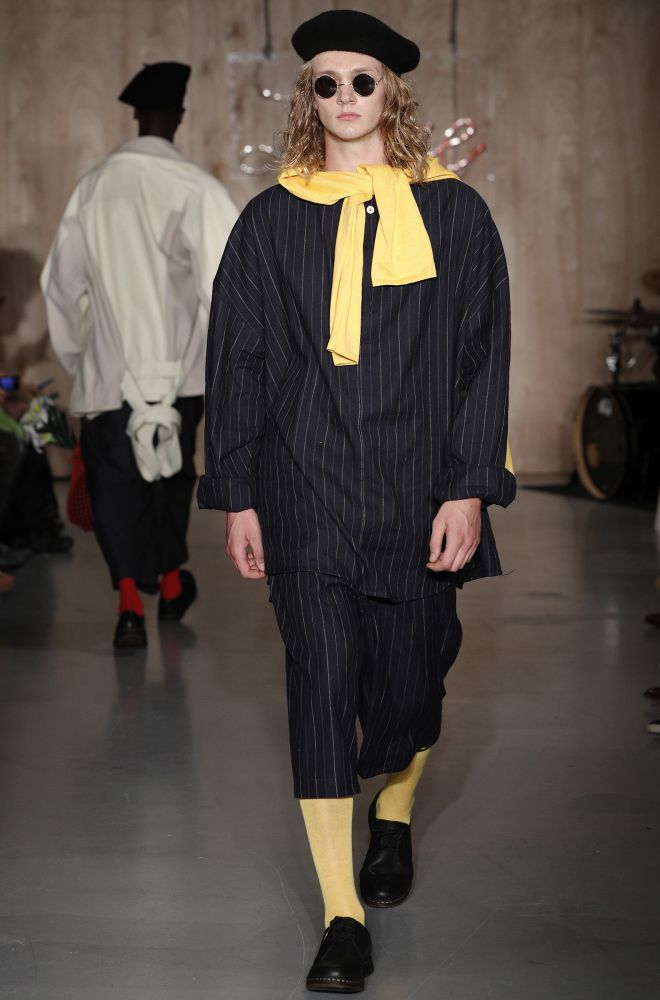 One of Leyman Lahcine\'s garments on the catwalk at Kingston University\'s MA Fashion Show  at the Vinyl Factory in Soho.
