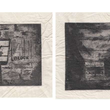 Louise Anderson, Auschwitz Birkenau and the story books Auschwitz Birkenau (Intaglio prints, printed on fabric)