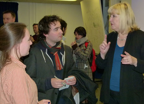 L-R Graphic design students Harriet Weeks and Jon Quinnell with DreamWorks Animation's Shelley Page.