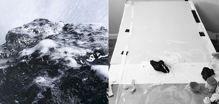 The illusion (left) of foaming water on rocks was created on Luke's kitchen table (right) using a small piece of brick, shaving foam and flour.