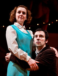 Ralf Little and Rebecca Johnson on stage at the Rose theatre in A Day in the Death of Joe Egg. Photo: Simon Annand