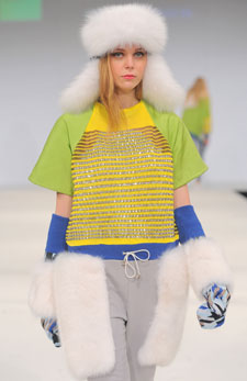 Christine Kinson's brightly coloured knitwear range dazzled the audience at London's Graduate Fashion Week.