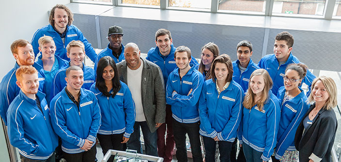 Members of Kingston University's sports performance programme turned out in force to welcome football legend John Barnes to the Penrhyn Road campus.