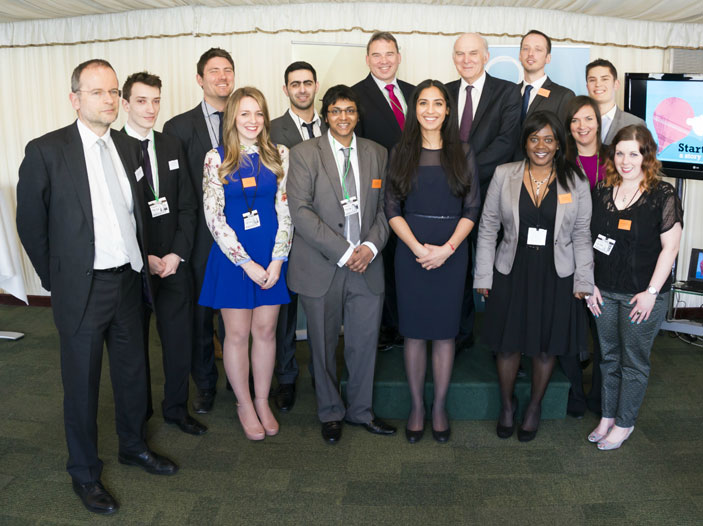 Secretary of State for Business, Innovation and Skills Vince Cable MP and Paul Blomfielld MP with the entrepreneurial graduates at the House of Commons event.