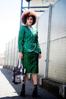 Sadie Clayton stepped out in 1980s' style during Graduate Fashion Week. Image: Wayne Tippetts