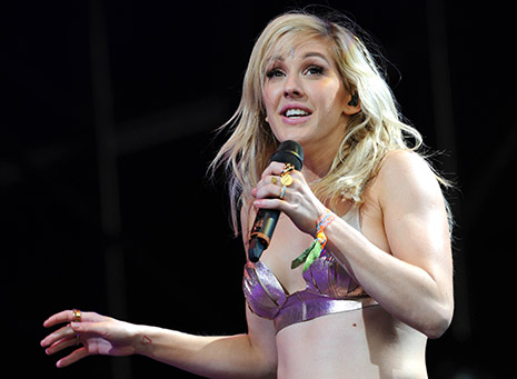 Singer Ellie Goulding wore a top made by Kingston University fashion graduate Sadie Clayton at Glastonbury Festival. Photo: Brian Rasic/REX
