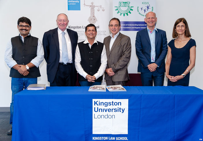 From left to right:  Dr Siddharth Satpathy, Associate Professor from KIIT Law School and Director of Academics at Kalinga Institute of Social Sciences; Professor J Martin Hunter from Nottingham Trent University and adviser to KIIT Law School; Dr Achyuta Samanta, Founder, KIIT and the Kalinga Institute of Social Studies; Professor Julius Weinberg, Vice-Chancellor, Kingston University; Professor Matthew Humphreys, Head of Kingston Law School and Ms Siri Harris, Senior Lecturer, Kingston Law School.