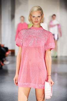 Krista Hendriksen has designed a dress covered in pastel pink sequins, reminiscent of blancmange.