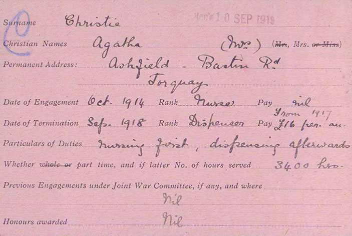 Agatha Christie's volunteer registration card is one of the archive's most popular items.