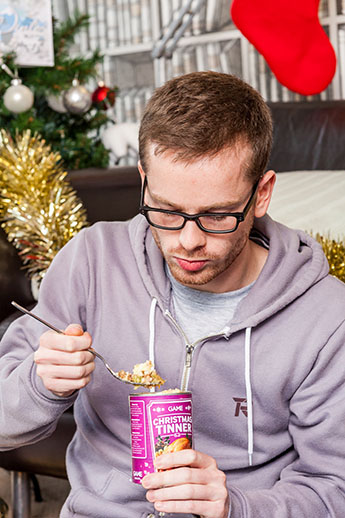 """Gamers tucking in to the Christmas """"tinner"""" can feast on nine courses."""
